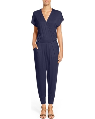 Women's Loveappella Short Sleeve Wrap Top Jumpsuit, Size Small - Blue