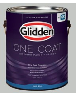 Glidden One Coat Exterior Paint and Primer, Solitary State/Gray, 1 Gallon, Semi-Gloss