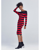 NY&Co Women's Off-The-Shoulder Stripe Sweater Dress - Gabrielle Union Collection Red | Size X-Small Nylon/Rayon