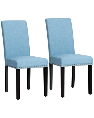 Costway Blue Fabric Dining Chairs with Nailhead Trim and Wood Legs (Set of 2)