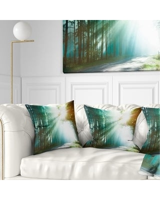 Designart 'Magic Blue Forest' Landscape Photography Throw Pillow (Square - 16 in. x 16 in. - Small)