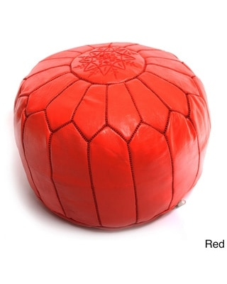 The Curated Nomad Aptos Handmade Moroccan Leather Pouf Authentic Ottoman (Red)