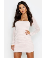 Womens Square Neck Ruched Mesh Bodycon Dress - Beige - 8