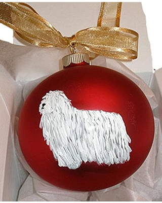 Komondor Hungarian Sheepdog Hand Painted Christmas Ornament - Can Be Personalized with Name