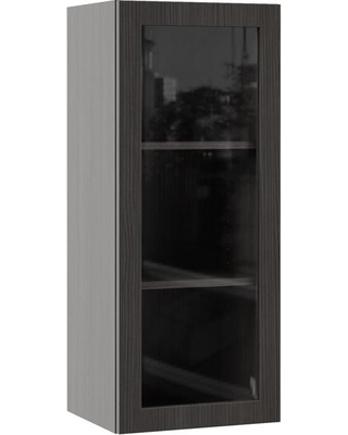Hampton Bay Designer Series Edgeley Assembled 15x36x12 in. Wall Kitchen Cabinet with Glass Door in Thunder