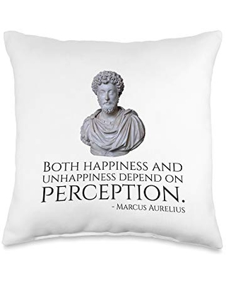 Ancient Roman Stoic Philosophy Quotes & Gifts Caesar Marcus Aurelius Quote On Happiness And Perception Throw Pillow, 16x16, Multicolor