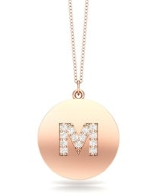 "Noray Designs 14K Gold Diamond (0.07Ct, G-H Color, SI2-I1 Clarity) A-Z Alphabet Initial Pendant, 18"" Gold Chain (M - Rose)"
