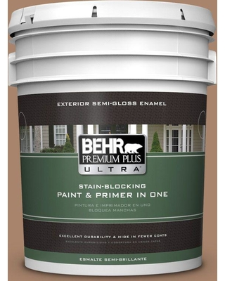 BEHR ULTRA 5 gal. #S220-5 Nutshell Semi-Gloss Enamel Exterior Paint and Primer in One