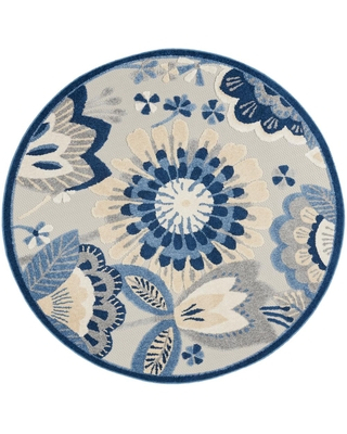 Nourison Aloha Blue/Grey 4 ft. x 4 ft. Floral Contemporary Indoor/Outdoor Round Rug