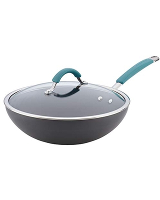 Rachael Ray Cucina Hard Anodized Nonstick Stir Fry Wok Pan with Lid, 11 Inch, Gray with Blue Handles