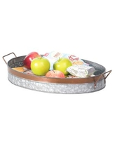 Vintiquewise Galvanized Metal Oval Rustic Serving Tray with Handles - Open Miscellaneous