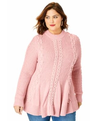 Plus Size Women's Fit-And-Flare Sweater by Roaman's in Soft Blush (Size 2X)