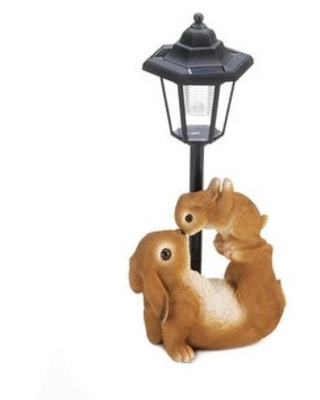 "Adorable Mom and Baby Rabbit Solar Figurine 7x5x14"" (Mom and Baby)"