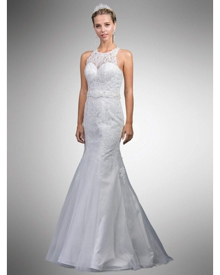 Dancing Queen Bridal - A7003 Beaded Lace Illusion Halter Mermaid Gown
