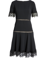 Women's Shani Embroidered Detail Fit & Flare Crepe Cocktail Dress, Size 12 - Black