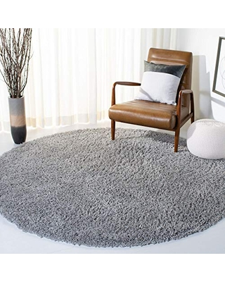 Safavieh August Shag Collection AUG200G 1.5-inch Thick Area Rug, 4' Round, Silver