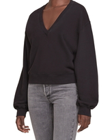 AGOLDE Balloon Sleeve Crop Cotton Sweatshirt, Size Small in Black at Nordstrom