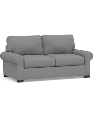Turner Roll Arm Upholstered Deluxe Sleeper Sofa without Nailheads, Polyester Wrapped Cushions, Textured Twill Light Gray