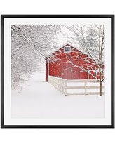 """Red Barn in the Snow by Cindy Taylor, 25 x 25"""", Wood Gallery, Black, Mat"""