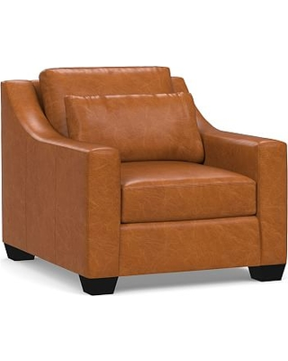York Deep Seat Slope Arm Leather Armchair, Polyester Wrapped Cushions, Vintage Caramel