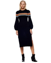 Jonny Cota Studio Mountain Midi Sweater Dress – Bodycon Long Sleeve Knitted Dress – 100% Cotton Casual Women's Dress with Puff Sleeves and Zipper Side Slit, Black, S