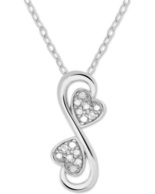 """Diamond Double Heart 18"""" Pendant Necklace (1/10 ct. t.w.) in Sterling Silver"""