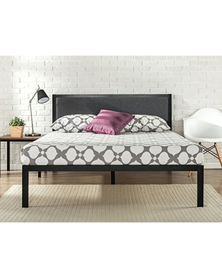 fall shopping special zinus 14 inch platform metal bed frame with upholstered headboard. Black Bedroom Furniture Sets. Home Design Ideas