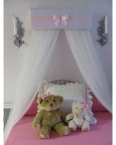 Bedroom Girls Bed Crib Canopy white Padded and Pink bow and band with WHITE sheer curtains by So Zoey Boutique SALE