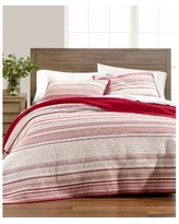 Martha Stewart Collection Holiday Yarn-Dye King Quilt - Red