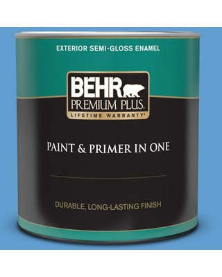 Amazing Sales On Behr Premium Plus 1 Qt 570b 5 Gulf Stream Semi Gloss Enamel Exterior Paint And Primer In One Blue