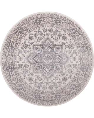 Concord Global Trading Lara Heriz Ivory 5 ft. x 5 ft. Round Area Rug