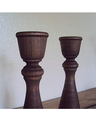 """Two Farmhouse Chic Candle Holders - Rustic Driftwood-Brown Candlestick Pair - Country Table Decor - Primitive Wood Candlestick Holders (Set of 2) - 9"""" or 11"""" Height"""