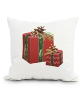 Nature's Gift 18 Inch Red Holiday Print Decorative Outdoor Throw Pillow