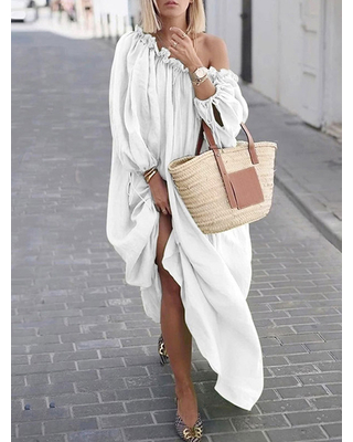 Maxi Dress Oversized White Long Sleeves One Shoulder Pleated Cotton Floor Length Dress