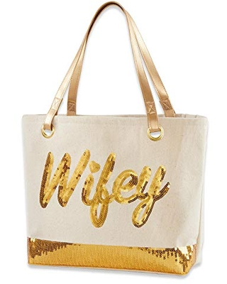 Kate Aspen Sequin Wifey Canvas Tote Bag, One Size, White