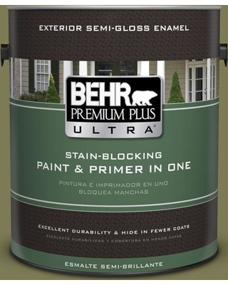 BEHR ULTRA 1 gal. #S370-6 Seaweed Salad Semi-Gloss Enamel Exterior Paint and Primer in One