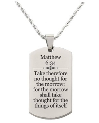 Matthew 6:34 Tag Necklace