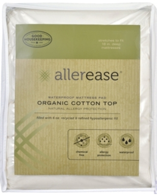 AllerEase Organic Cotton Top Cover Waterproof Twin Mattress Pad