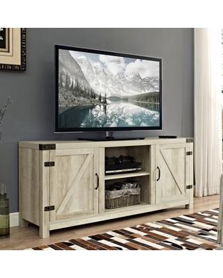 """Manor Park Modern Farmhouse Barn Door TV Stand for TVs up to 65"""", White Oak"""