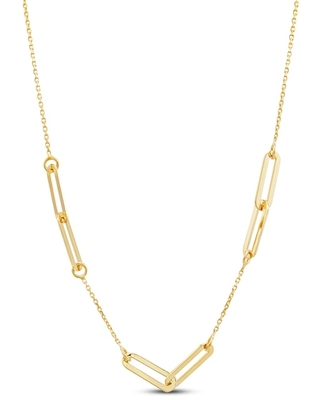 """Jared The Galleria Of Jewelry Italia D'Oro Oval Link Necklace 14K Yellow Gold 18"""""""