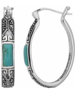 Tori Hill Sterling Silver Simulated Turquoise and Marcasite Oval Hoop Earrings, Women's, White