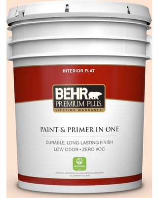 BEHR Premium Plus 5 gal. #280C-1 Champagne Ice Flat Low Odor Interior Paint and Primer in One
