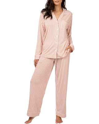 LIVELY The All Day Lounge Pants, Size X-Small in Mini Stripe Shell Pink at Nordstrom