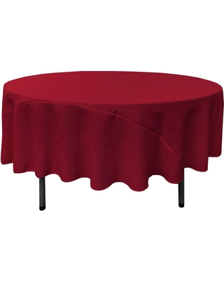 LA Linen 90 in. Cranberry (Red) Polyester Poplin Round Tablecloth