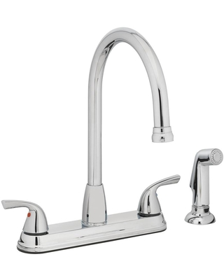 Project Source Everfield Chrome 2-Handle Deck-Mount High-Arc Handle Kitchen Faucet (Deck Plate Included)   21-K822-PSD