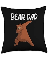 Cool Brown Wildlife Bear Hunters Mountain Clothes Funny Gift for Dad Father Men Bear Mammal Animal Throw Pillow, 18x18, Multicolor