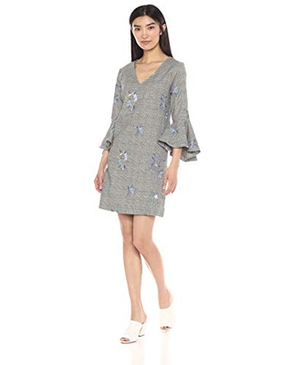 Karen Kane Women's Embroidered Flare Sleeve Dress, Plaid, Extra Small