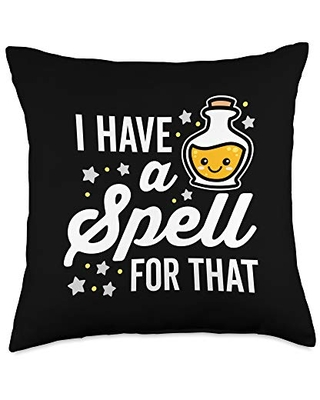 Detour Shirts I Have a Spell for That Cute Kawaii Halloween Throw Pillow, 18x18, Multicolor