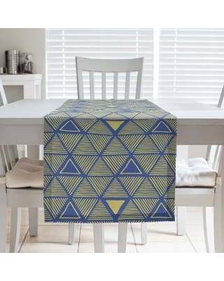 Full Color Hand Drawn Triangles Table Runner (16 x 72 - Cotton Blend - Blue & Yellow)