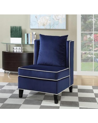 Franklin Collection 8759 Accent Chair with Velvet Upholstery Off-White Piped Stitching Pillow Included Tapered Legs and Solid Wood Frame in